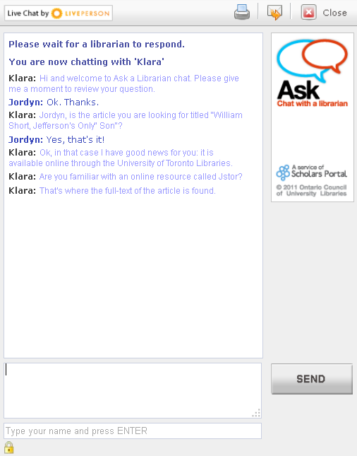 screenshot of an active Ask a Librarian chat window
