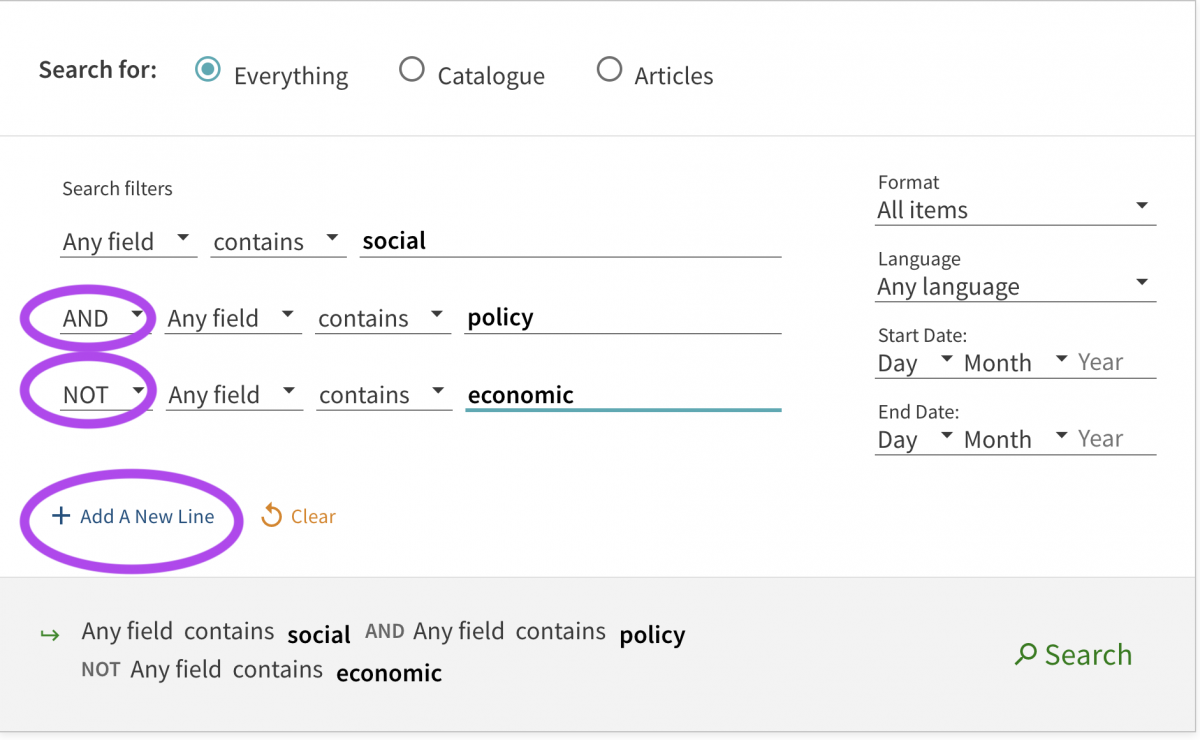 boolean search for social and policy not economic
