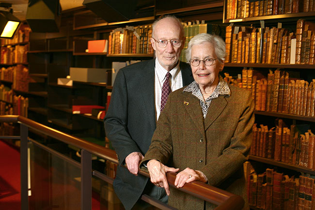 Russell and Katherine Morrison in 2010 inside the Thomas Fisher Rare Book Library