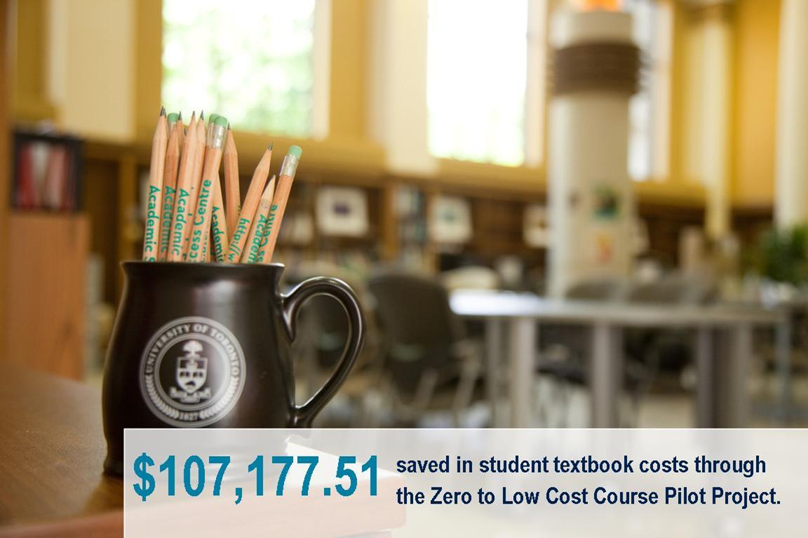 $107,177.51 saved in student textbook costs through the Zero to Low Cost Course Pilot Project.