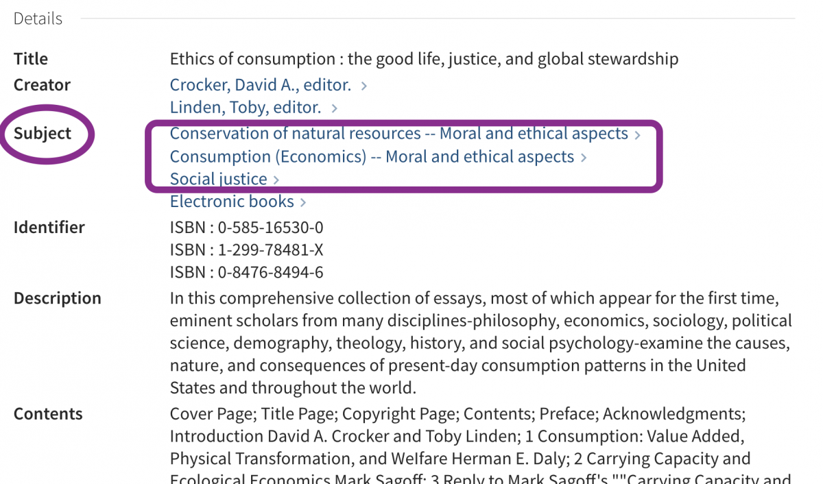 circle around subject headings for ethics of consumption