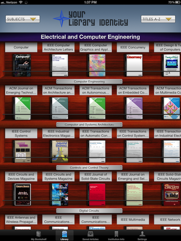 screenshot of browzine bookshelf