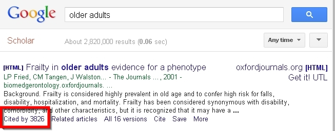 screenshot of google scholar search results screen