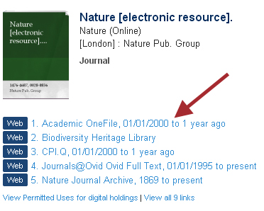 catalogue record for the journal Nature with web links