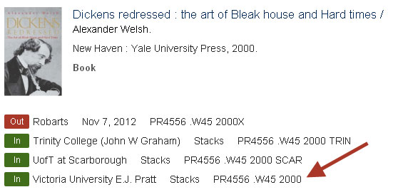 a screenshot of Dickens Redressed in the library catalogue: http://go.utlib.ca/rwd/details?3864431