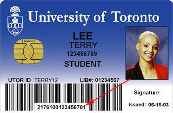 TCard with barcode pointed out