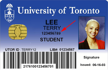 TCard with student number pointed out