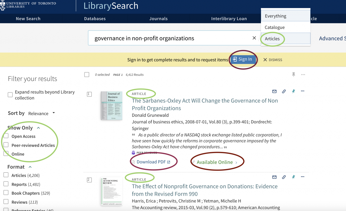 screenshot of a search for articles, showing the search results