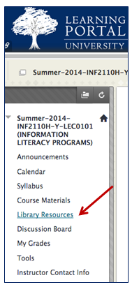 Image shows Library Resources link.
