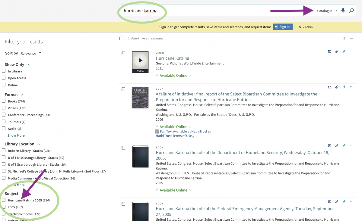 arrow pointing to subject headings on left side of the page