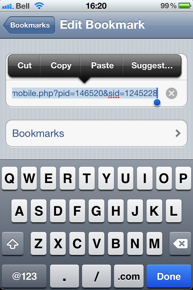 screen shot of iPhone bookmark function