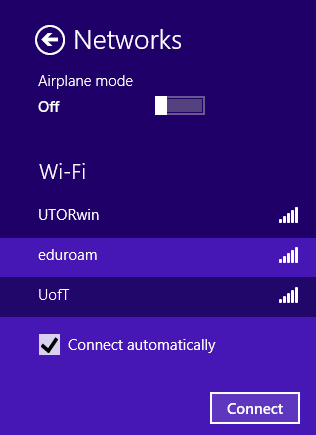 Select eduroam