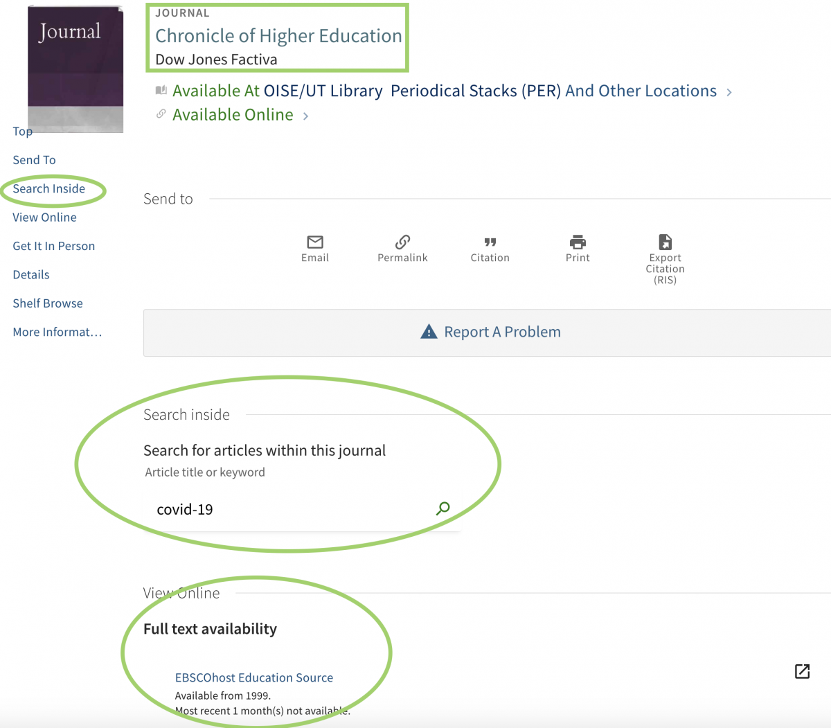 screen capture showing how to look for articles within the Chronicle of Higher Education
