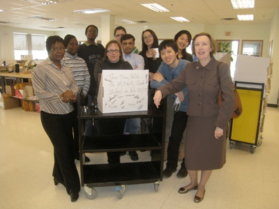 Some of the Downsview SLA Team with visitor Karen Turbo (right).