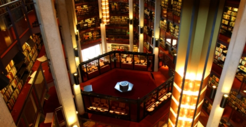 Photo of the interior of Fisher Library