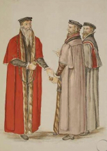 Mayor, alderman, and liveryman: de Heere illustration, c.1574, from BL Add. MS 28330 fo. 30r.