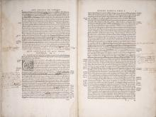 Pages annotated by Vesalius from the 1555 edition of De humani corporis fabrica.