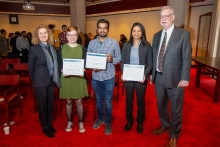 From left to right: Vice-President and Provost Cheryl Regehr, Elizabeth Haig (accepting on behalf of Alina Bykova), Rahul Arora, Amanda Khan and Larry Alford, U of T's chief librarian (photo by Paul Terefenko)