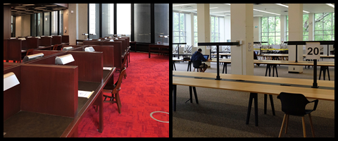 Photos of study space at Robarts Library and the Gerstein Science Information Centre